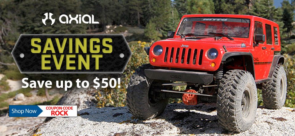 Save up to $50 on Select Axial Vehicles