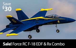 Save on the Force RC F-18 Blue Angels V2 PNP 64mm Sport EDF Jet plus get a free Spektrum AR410 receiver