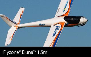 Flyzone Eluna 1.5m PNP Powered Glider Sport Sailplane with Free Spektrum AR410 Receiver