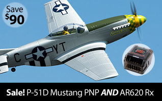 Save on the Force RC P-51D Mustang PNP Park Flyer Warbird plus get a free Spektrum AR620 receiver