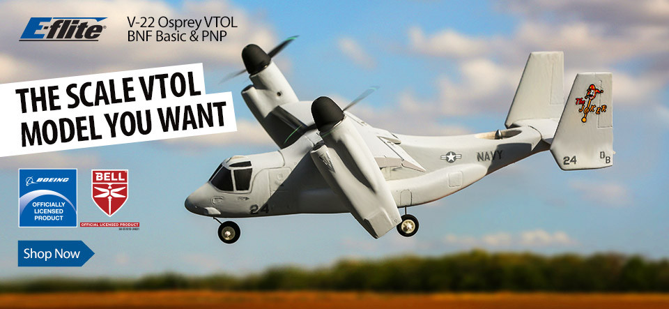 E-flite V-22 Osprey VTOL BNF Basic and PNP Scale Warbird Officially Licensed RC Aircraft