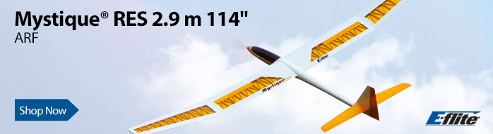 E-flite Mystique RES 2.9m ARF, 114-inch Sport Powered Glider Sailplane