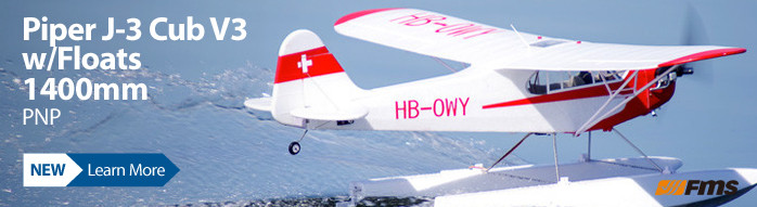 FMS Piper J-3 Cub 1400mm PNP with Float Set Scale Civilian Park Flyer Airplane