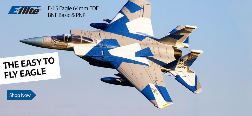 E-flite F-15 Eagle 64mm EDF RC Jet BNF Basic with SAFE Technology and PNP