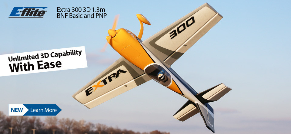 E-flite Extra 300 3D 1.3m Aerobatic Scale Airplane BNF Basic with SAFE Select and PNP