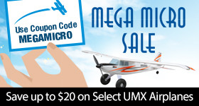 Mega Micro Sale - Save up to $20 on Select UMX Airplanes with code MEGAMICRO through February 28, 2019