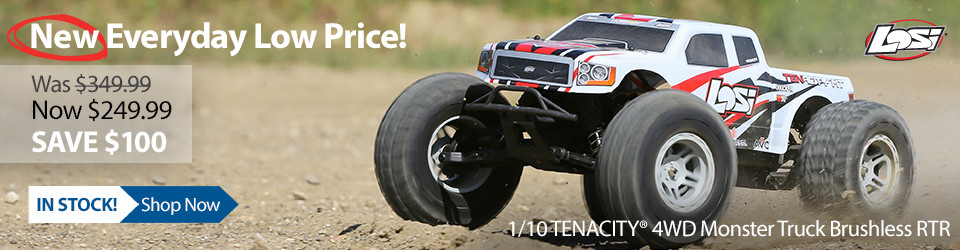 New Outlet Price! Losi 1/10 TENACITY 4WD Monster Truck Brushless RTR with AVC
