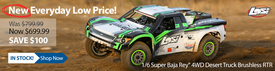New Outlet Price! Losi 1/6 Super Baja Rey 4WD Desert Truck Brushless RTR with AVC