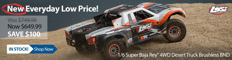 New Outlet Price! Losi 1/6 Super Baja Rey 4WD Desert Truck BND with AVC