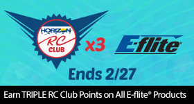 Earn triple points on all E-flite RC Products through February 27, 2019