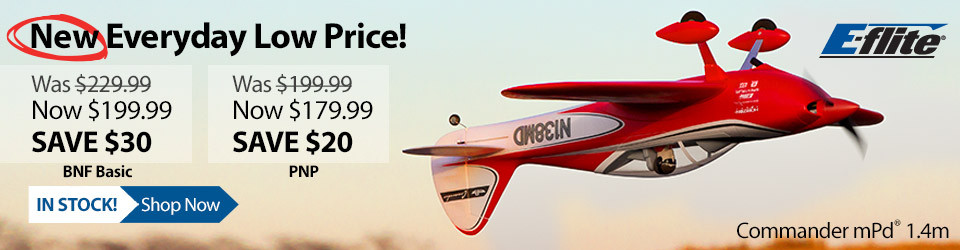 New Everyday Low Price! E-flite Commander mPd 1.4m Sport Flyer Airplane