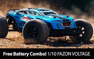 ARRMA 1/10 FAZON VOLTAGE 2WD Brushed Mega Truck RTR Free Battery and Charger