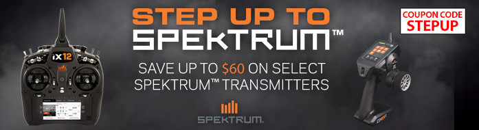 Step Up To Spektrum Sale - Save up to $60 on select Spektrum Radios with code STEPUP through May 31, 2019
