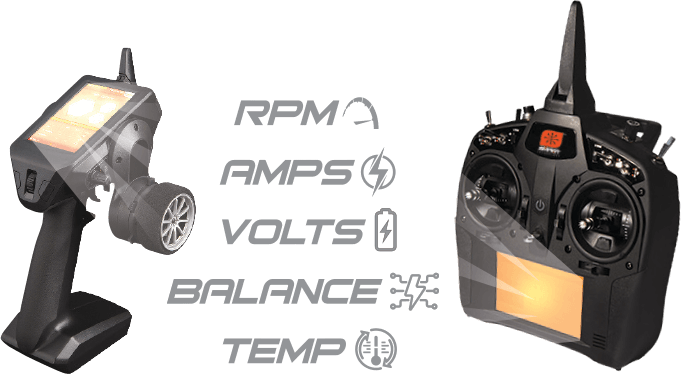 Telemetry: RPM, AMPS, VOLTS, BALANCE, TEMPS.