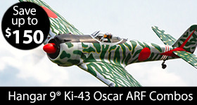 Hangar 9 Ki-43 Oscar 50-60cc ARF Combos - Save Up To $150