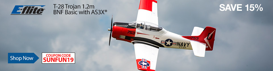 Sun's out fun's out - save 15% on the E-flite T-28 Trojan 1.2m through September 2, 2019