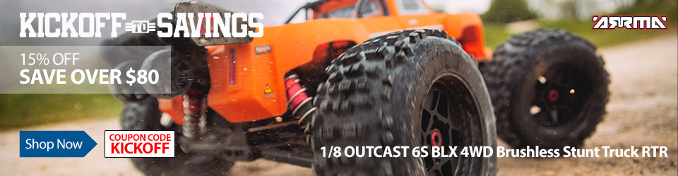 Kick Off To Savings - Save 15% on the ARRMA 1/8 OUTCAST 6S BLX 4WD Brushless Stunt Truck RTR