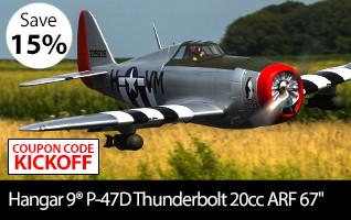 Save 15 percent during Kickoff to Savings on the Hangar 9 P-47D Thunderbolt 20cc ARF