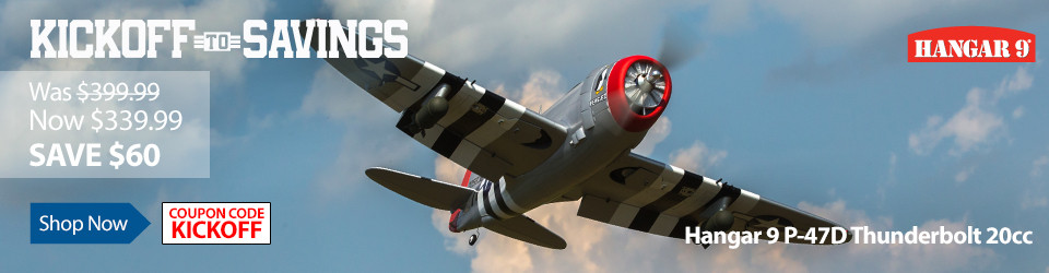 Kick Off To Savings - Save 15% on the Hangar 9 P-47D Thunderbolt 20cc