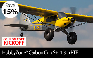 Save 15 percent during Kickoff to Savings on the HobbyZone Carbon Cub S+ 1.3m RTF