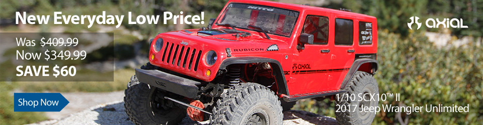 New Everyday Low Price Save $60 on the Axial SCX10 II 2017 Jeep Wrangler Unlimited