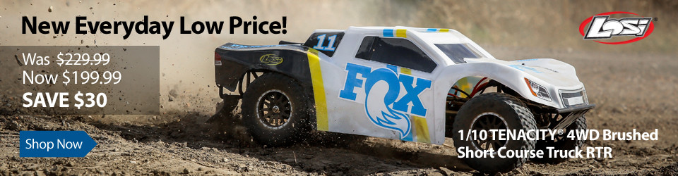 New Everyday Low Price Save $30 on Losi 1/10 TENACITY 4WD Brushed Short Course Truck RTR