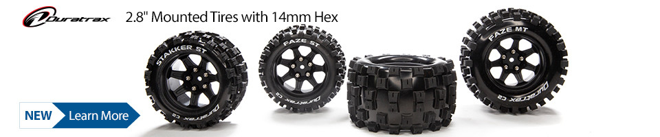 New! Duratrax mounted tires with 14mm Hex