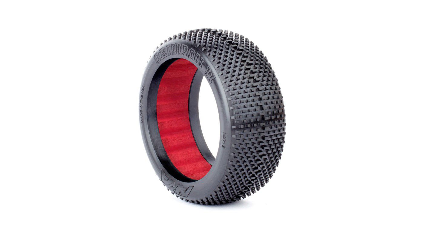 Image for 1/8 Gridiron II Super Soft Front/Rear Tire with Red Insert: Buggy (2) from HorizonHobby
