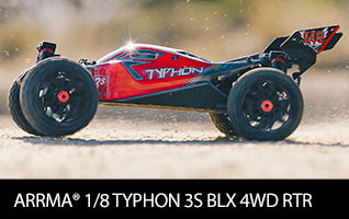 ARRMA 1/8 TYPHON 3S BLX 4WD Brushless Buggy RTR, Black