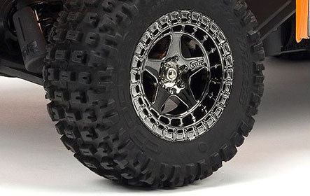 dBoots® FORTRESS MT Multi-terrain Tyres on Black Chrome Multi-spoke Wheels