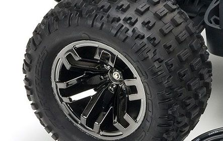 dBoots FORTRESS SCT Multi-terrain Tires on Black Chrome Multi-spoke Wheels