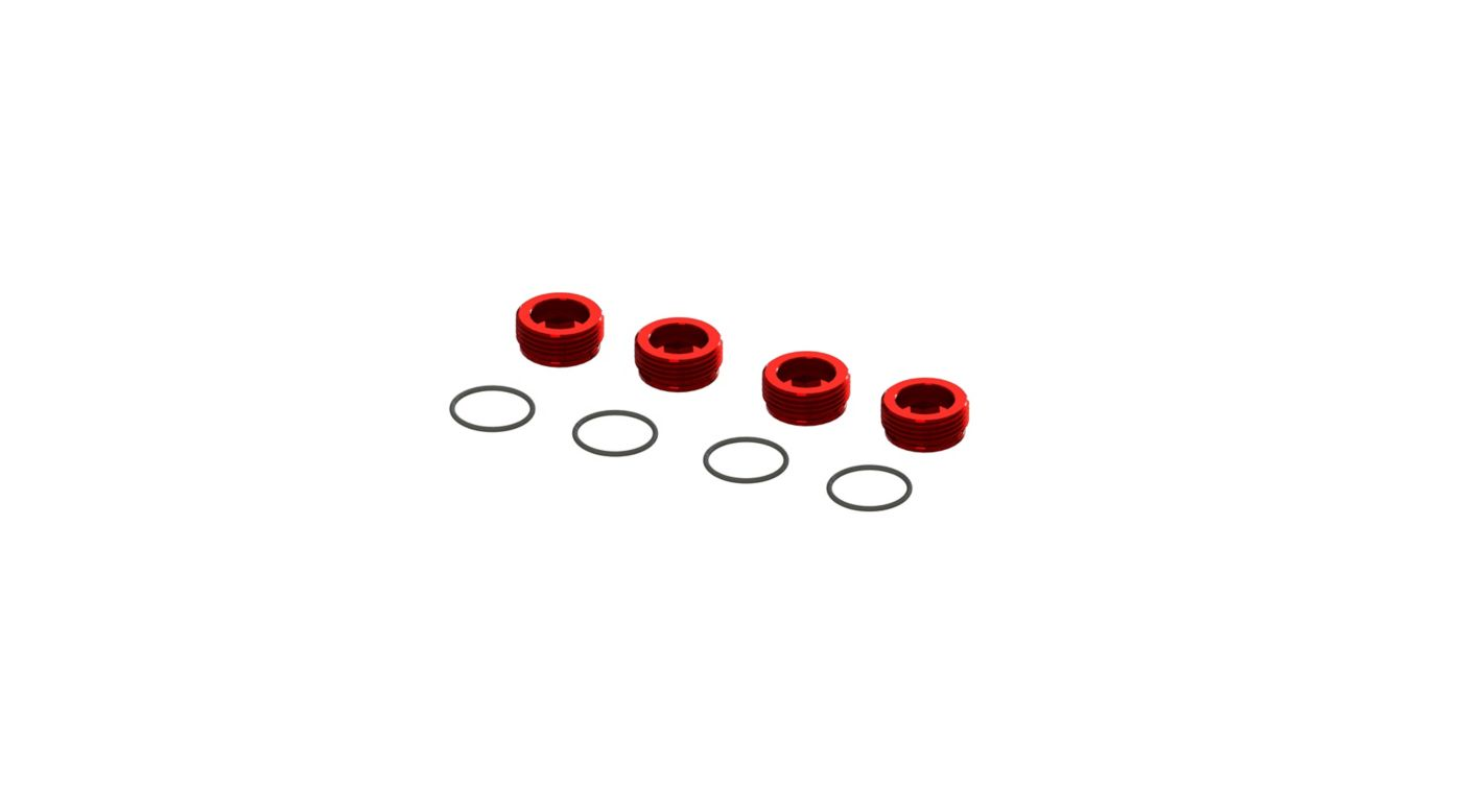Image for Aluminum Front Hub Nut Red (4) with O-Rings from Horizon Hobby