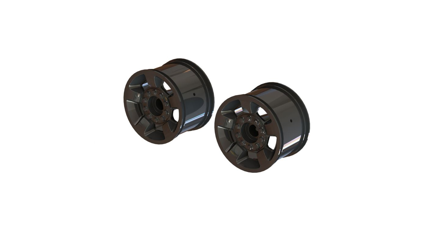 Image for 1/10 MT Front/Rear 2.8 Wheels, 14mm Hex, Black Chrome (2) from HorizonHobby
