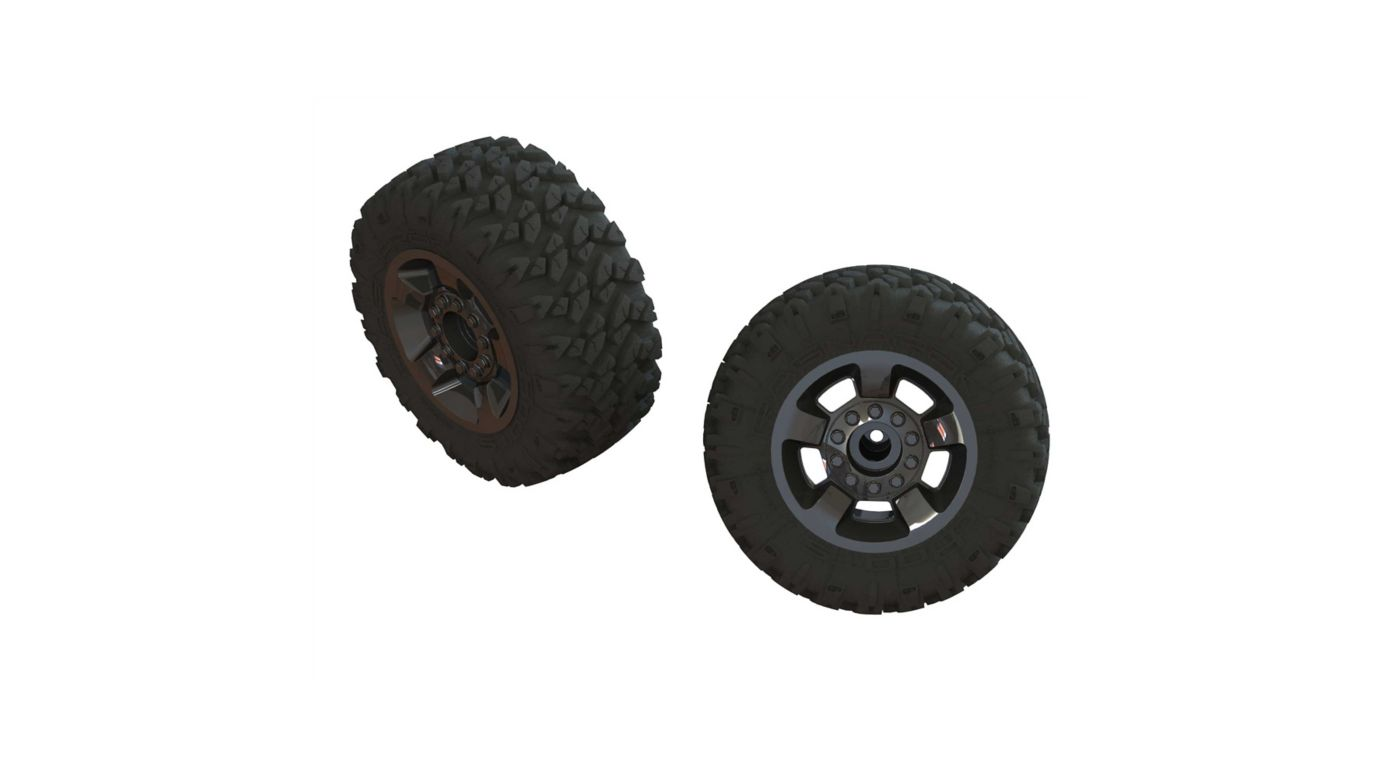 Image for 1/8 RAGNAROK MT Front/Rear 2.8 Pre-Mounted Tires, ST, 14mm Hex, Black Chrome (2) from HorizonHobby
