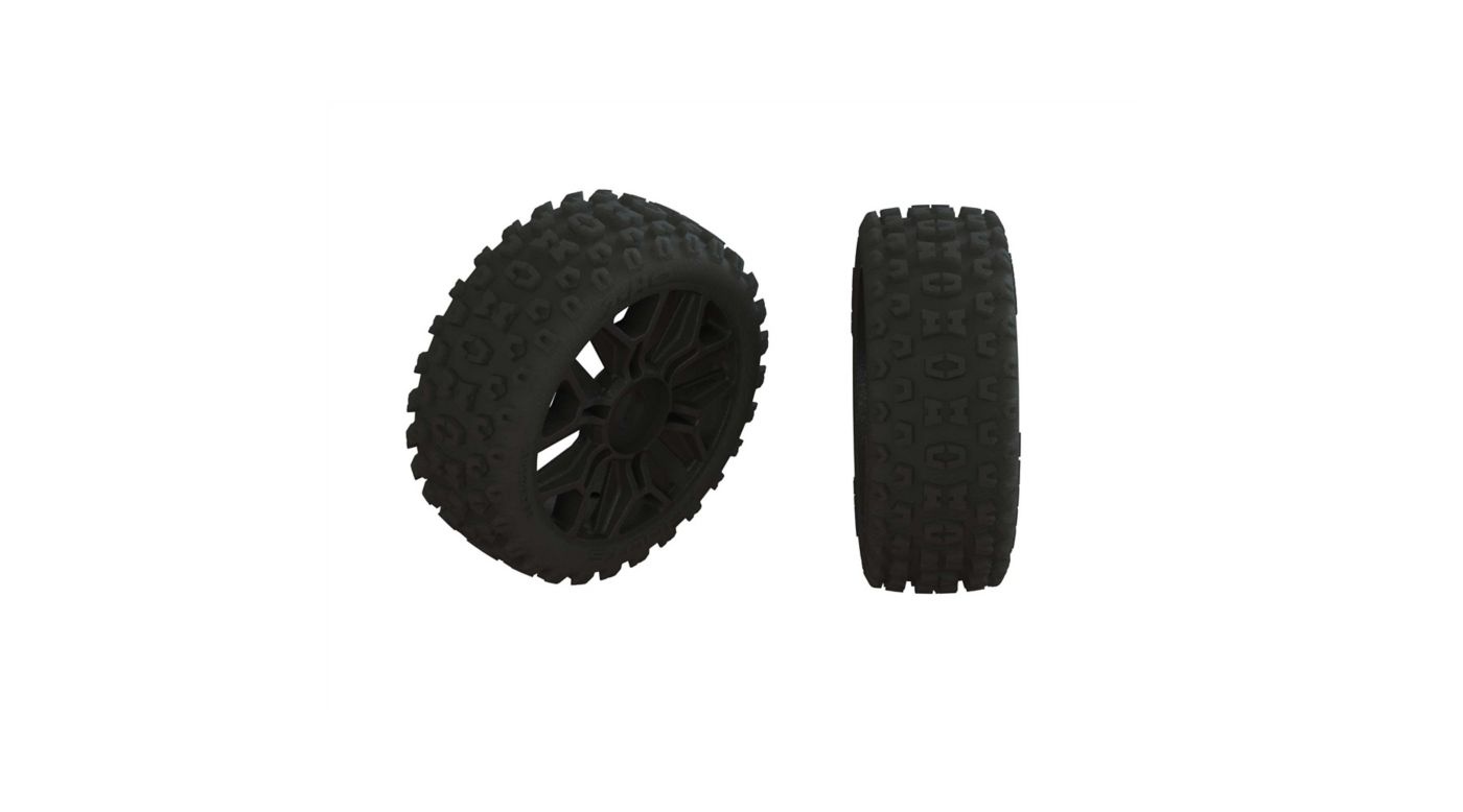 Image for 1/8 2HO Front/Rear 3.3 Pre-Mounted Tires, 17mm Hex, Black (2) from HorizonHobby