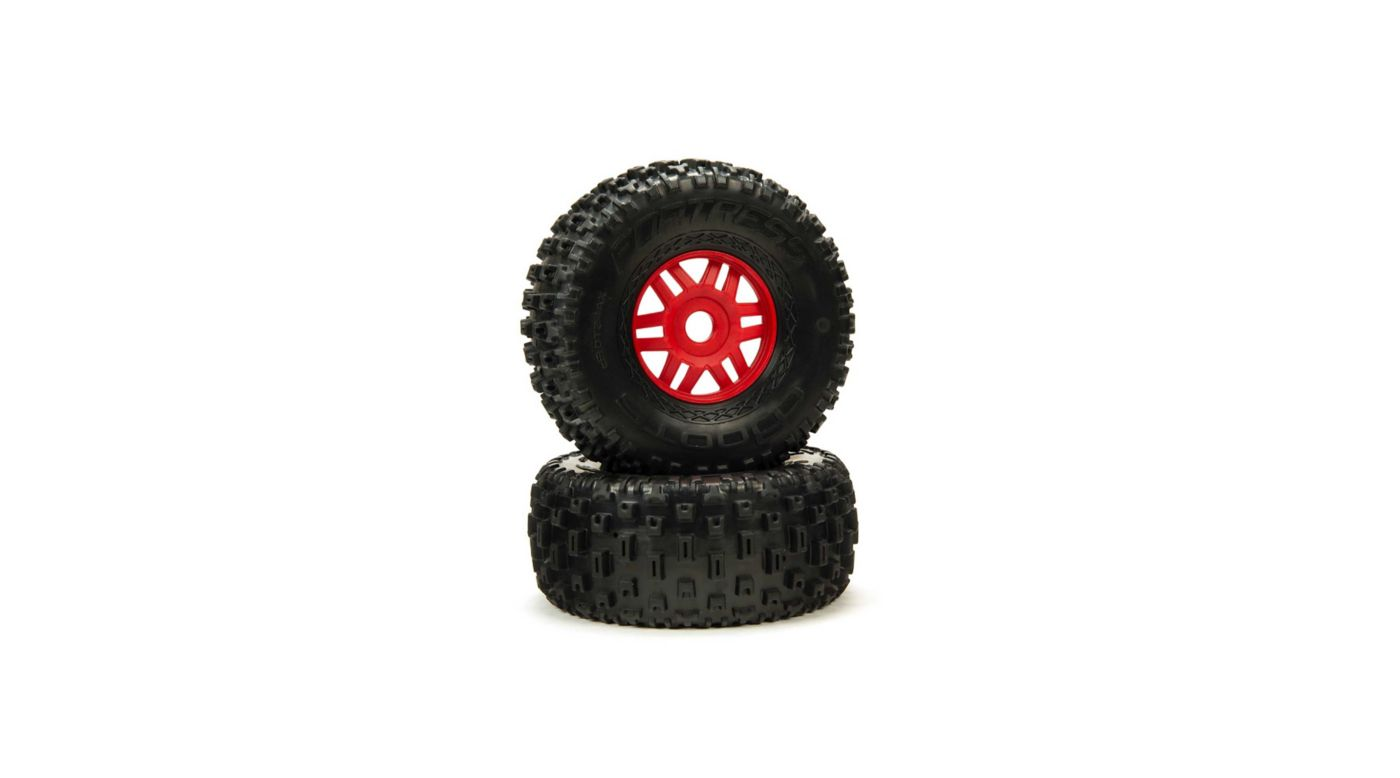 Image for 1/8 dBoots Fortress Front/Rear 2.4/3.3 Pre-Mounted Tires, 17mm Hex, Red (2) from Horizon Hobby