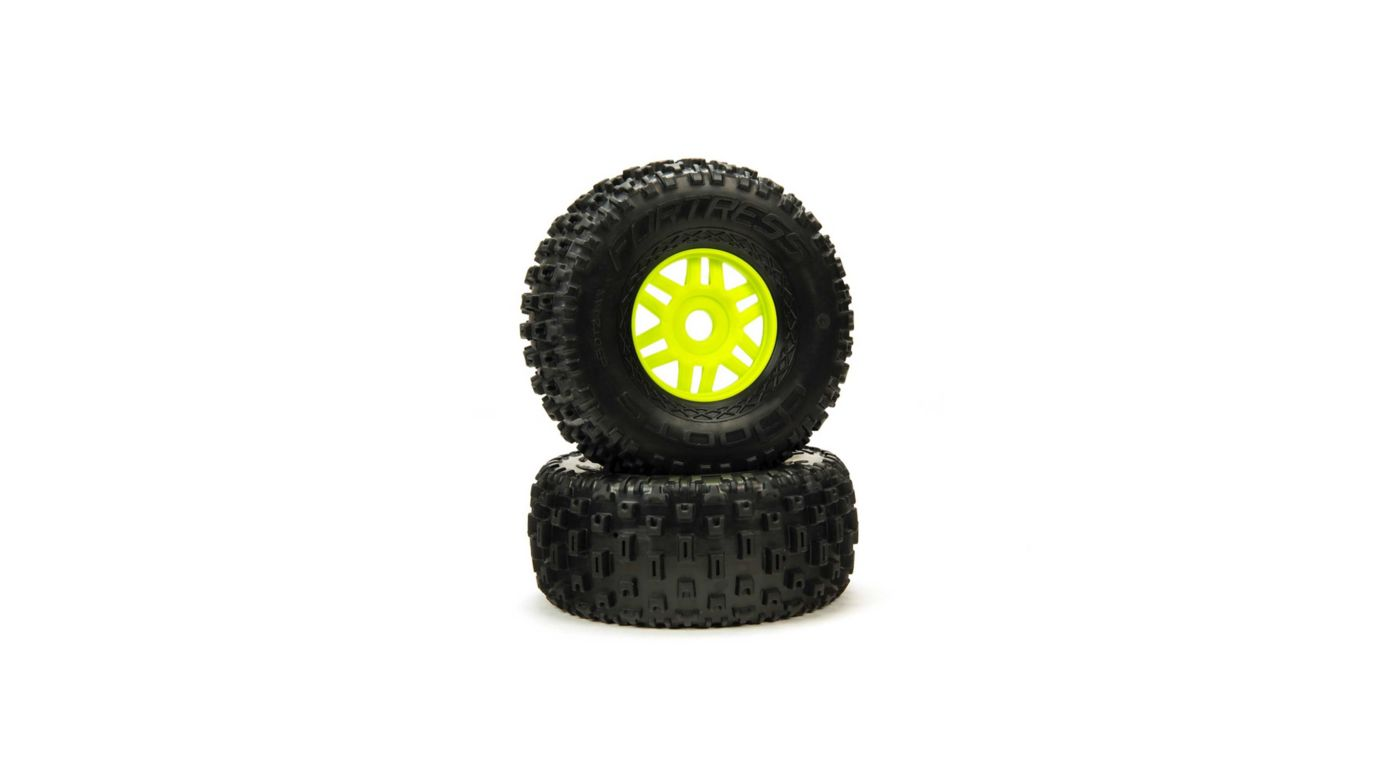 Image for 1/8 dBoots Fortress Front/Rear 2.4/3.3 Pre-Mounted Tires, 17mm Hex, Green (2) from Horizon Hobby