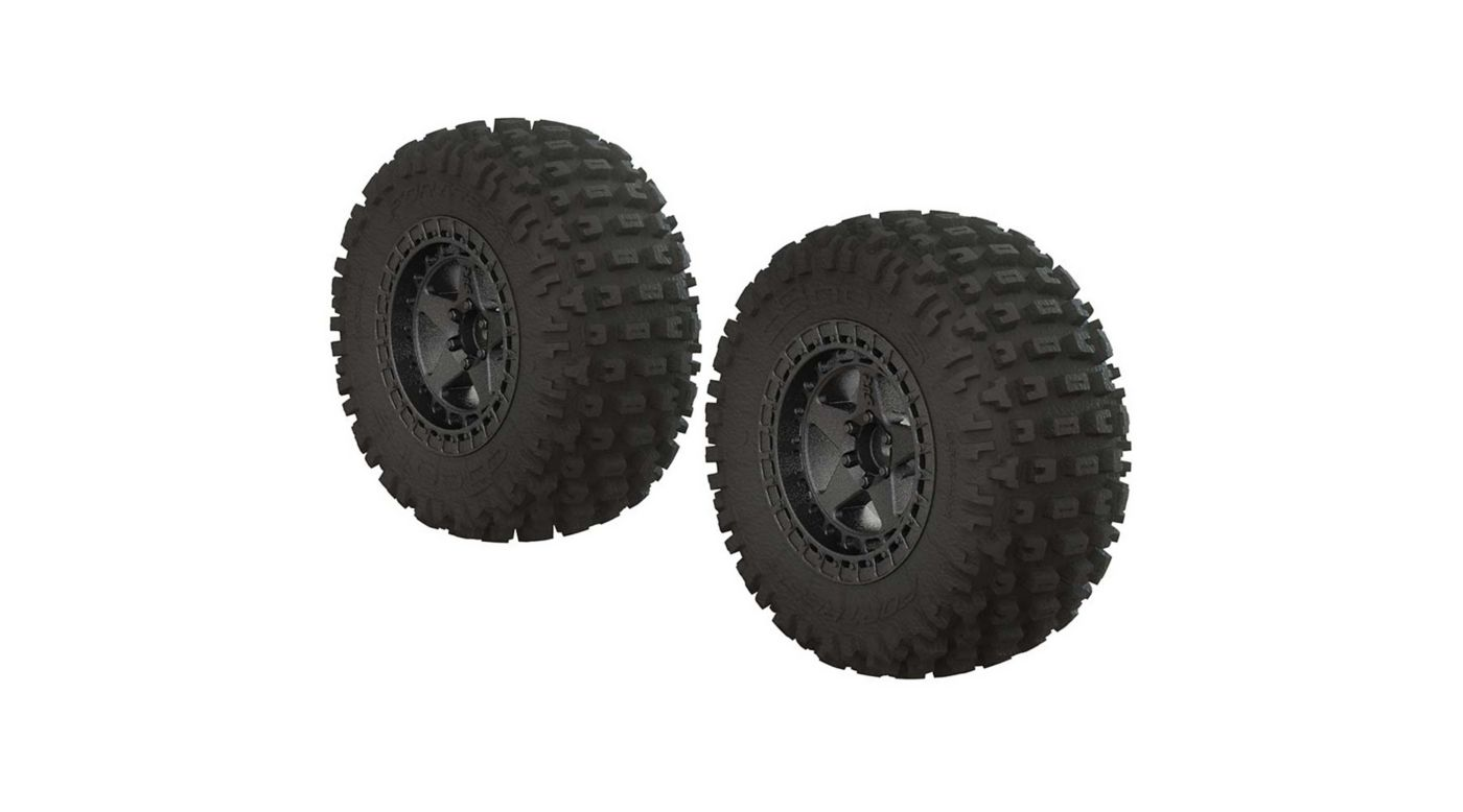 Image for 1/10 dBoots Fortress SC 2.2/3.0 Pre-Mounted Tires, 14mm Hex, Black Chrome (2) from HorizonHobby