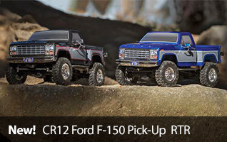 New by Team Associated, the officially licensed CR12 Ford F-150 Pickup RTR available in blue or black.