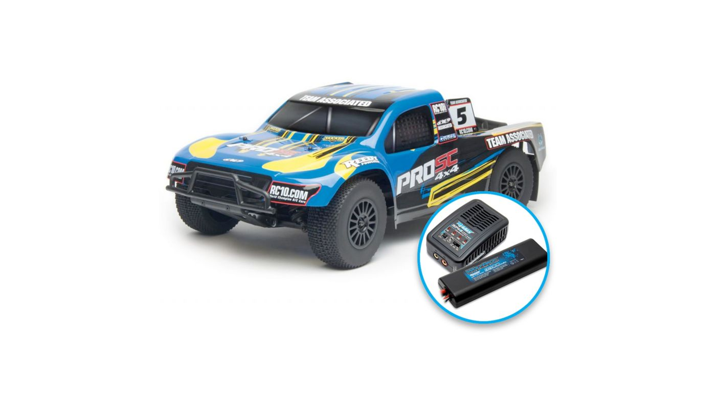 Image for 1/10 ProSC 4WD SCT Brushless RTR LiPo Combo, Blue from HorizonHobby