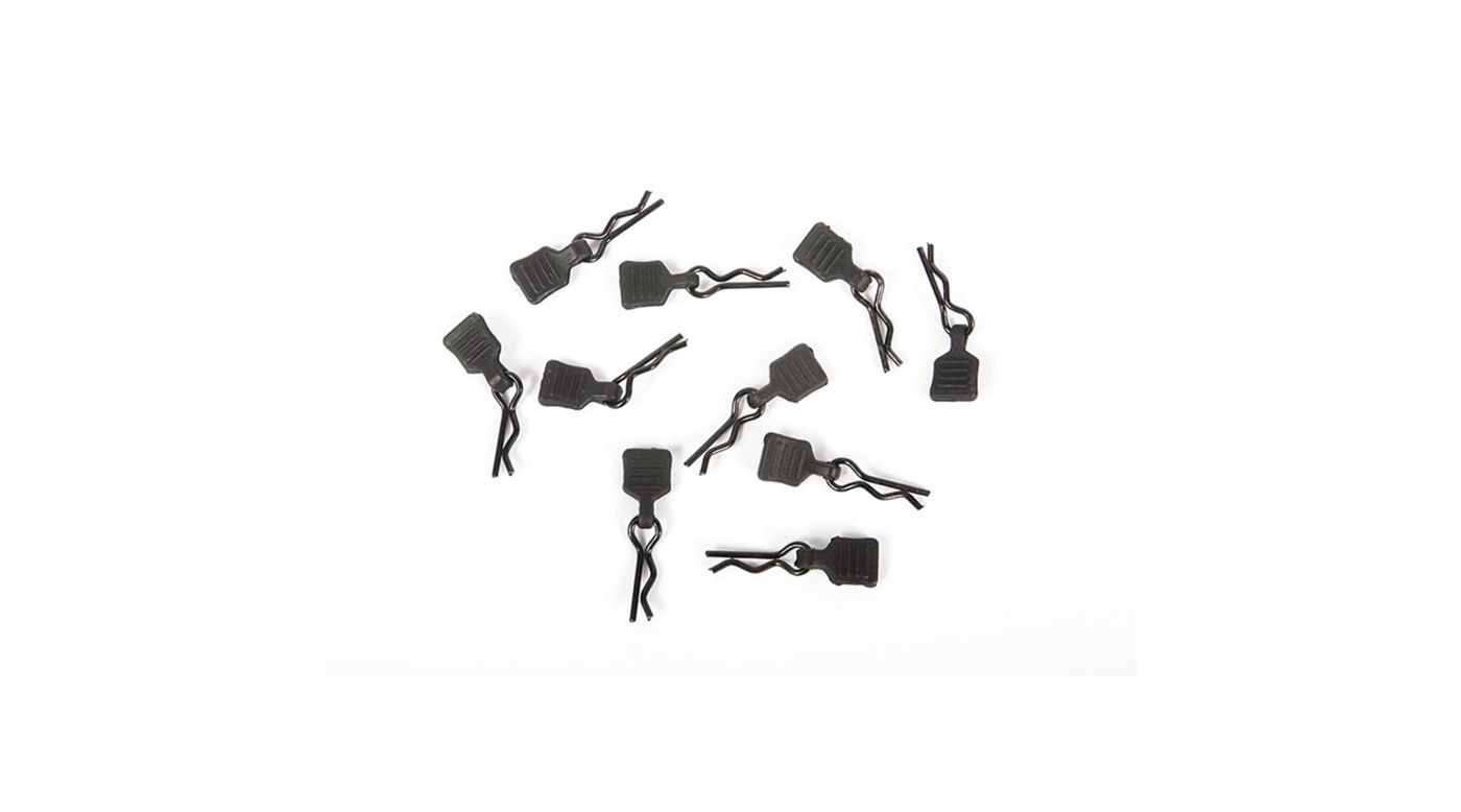 Image for 3mm Body Clip with Tab, Black (10) from HorizonHobby