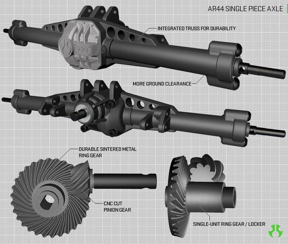 "AR44â""¢ SINGLE PIECE HI-PINION AXLES"