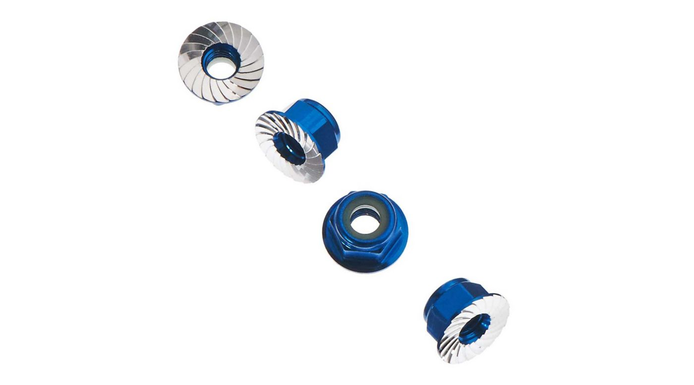 Image for Wheel Nut M4 Serrated Blue (4) from HorizonHobby