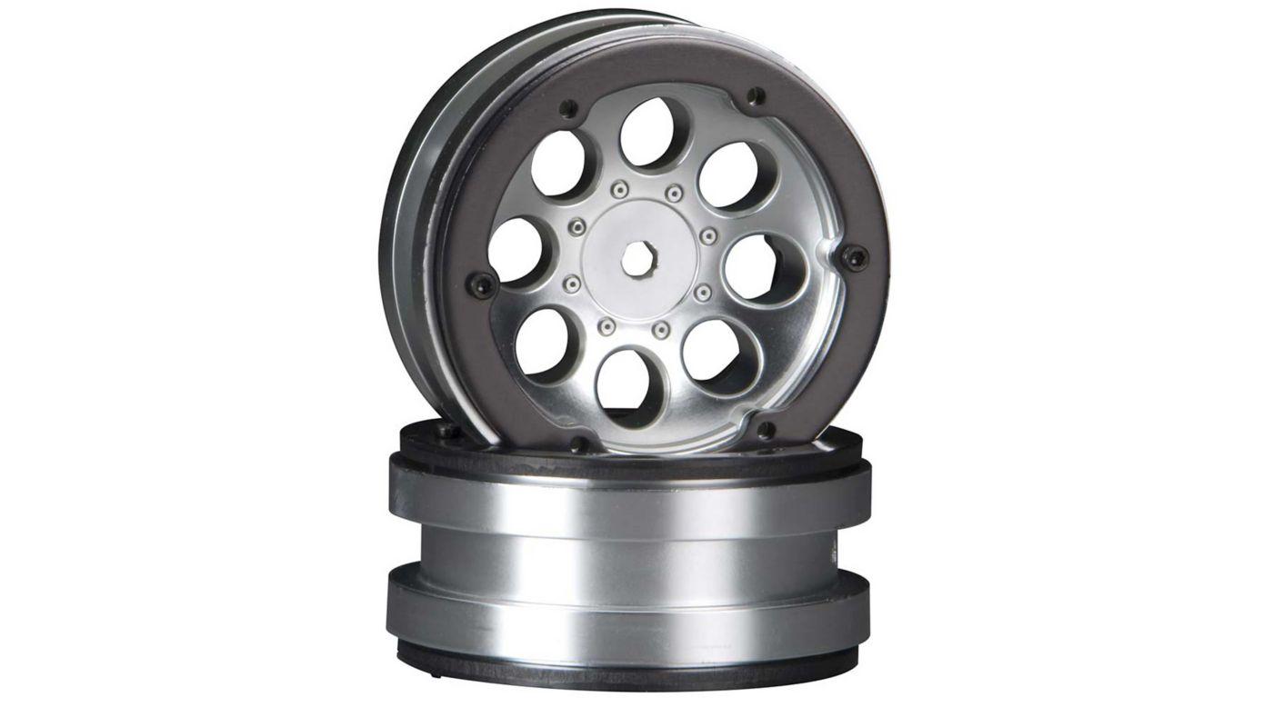 Image for 8-Hole 1.9 Beadlock Wheel Satin Chrome (2) from HorizonHobby