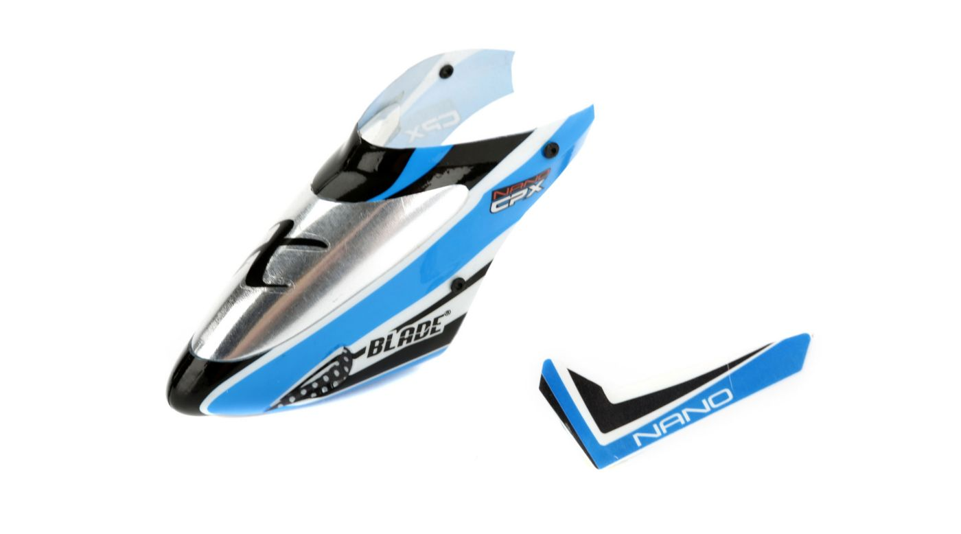 Image for Complete Blue Canopy with Vertical Fin: Nano CP X from HorizonHobby