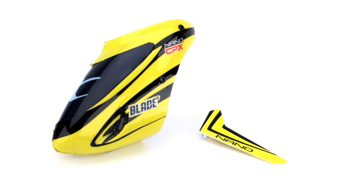 Image for Complete Yellow Canopy with Vertical Fin: Nano CP X from HorizonHobby