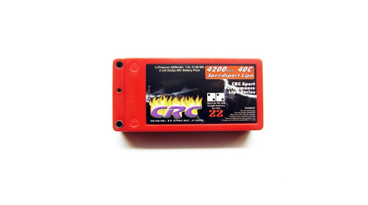 Image for 7.4V 4200mah 2S 40C Speedsport Shorty Hardcase Lipo Battery: Tubes, 2mm from HorizonHobby
