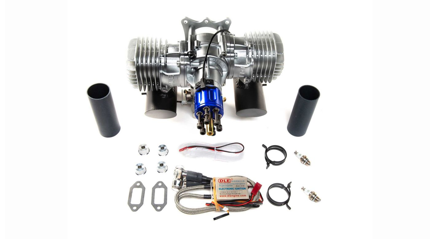 Image for DLE-130cc Twin Gas Engine with Electric Ignition and Mufflers from HorizonHobby