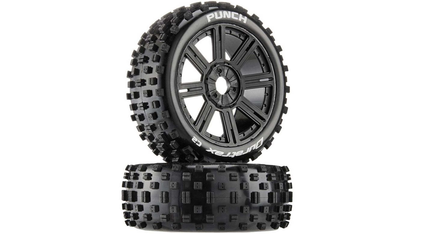 Image for Punch C2 Mounted Buggy Spoke Tires, Black (2) from HorizonHobby