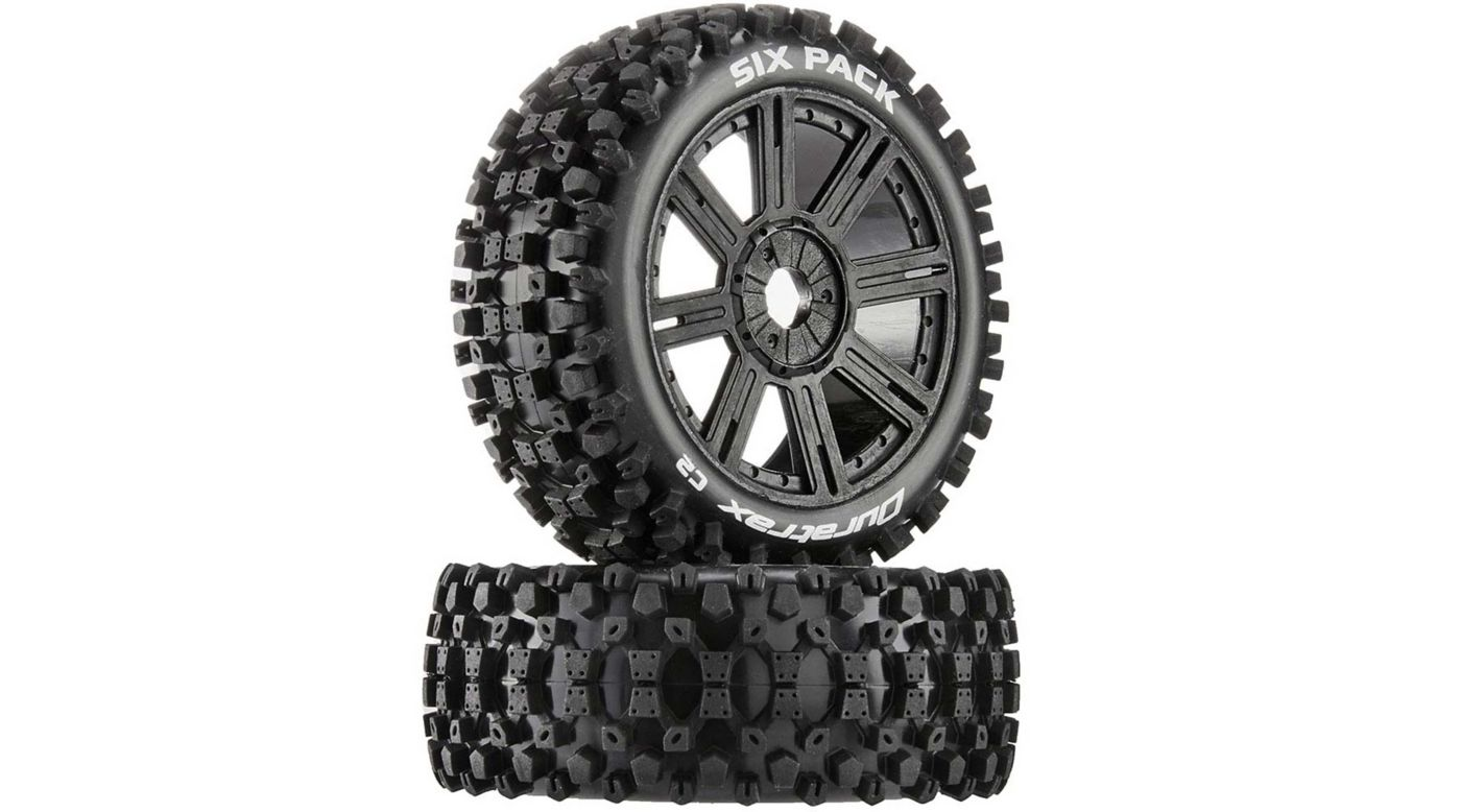Image for Six-Pack C2 Mounted Buggy Spoke Tires, Black (2) from HorizonHobby